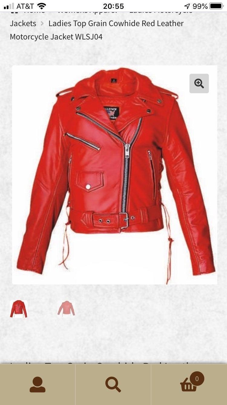 Ladies Top Grain Cowhide Red Leather Mot