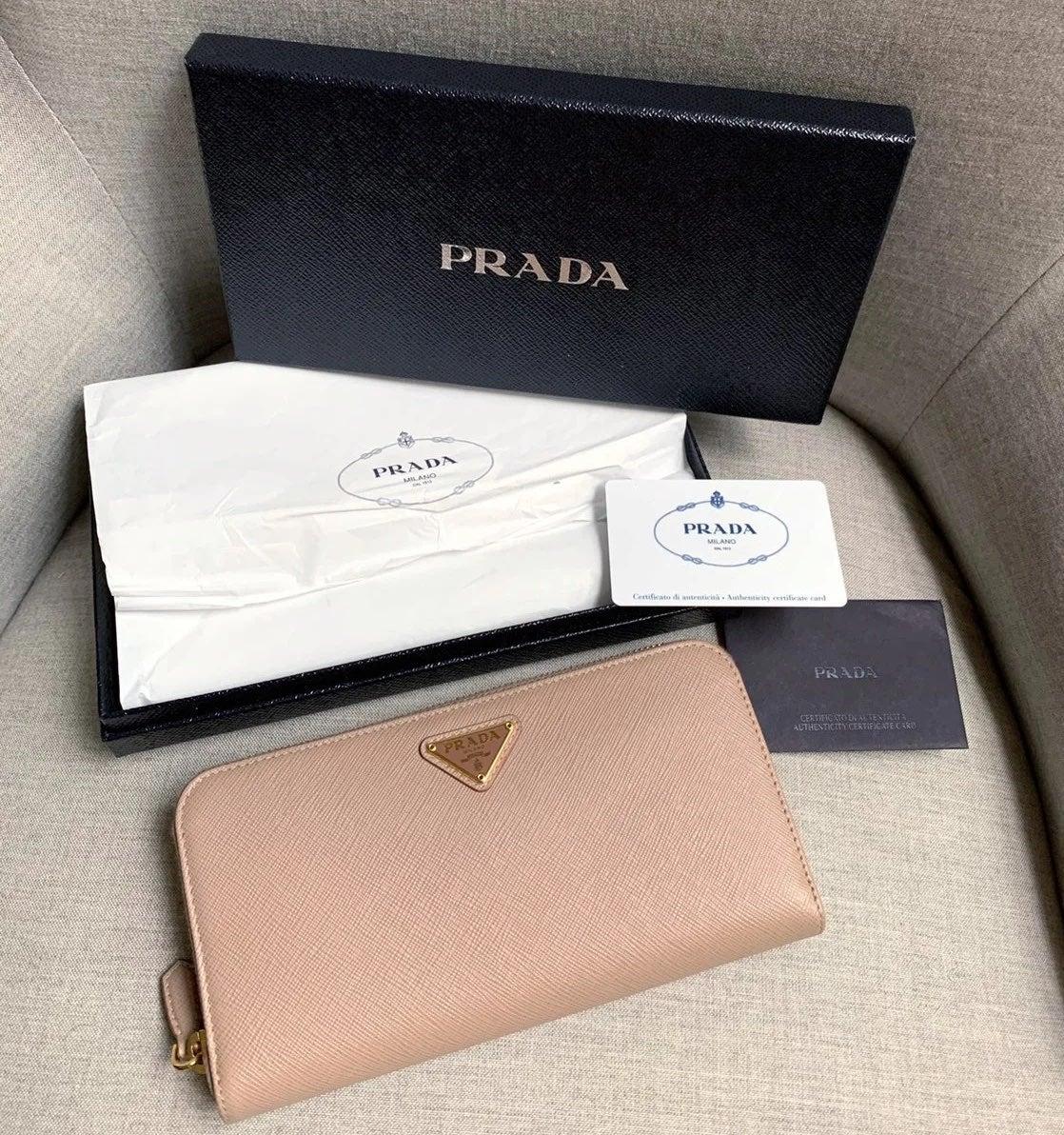 Prada Saffiano Leather Beige Wallet