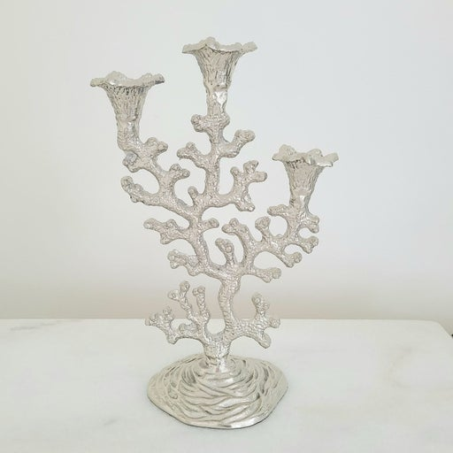 Silver Coral Candle Holder