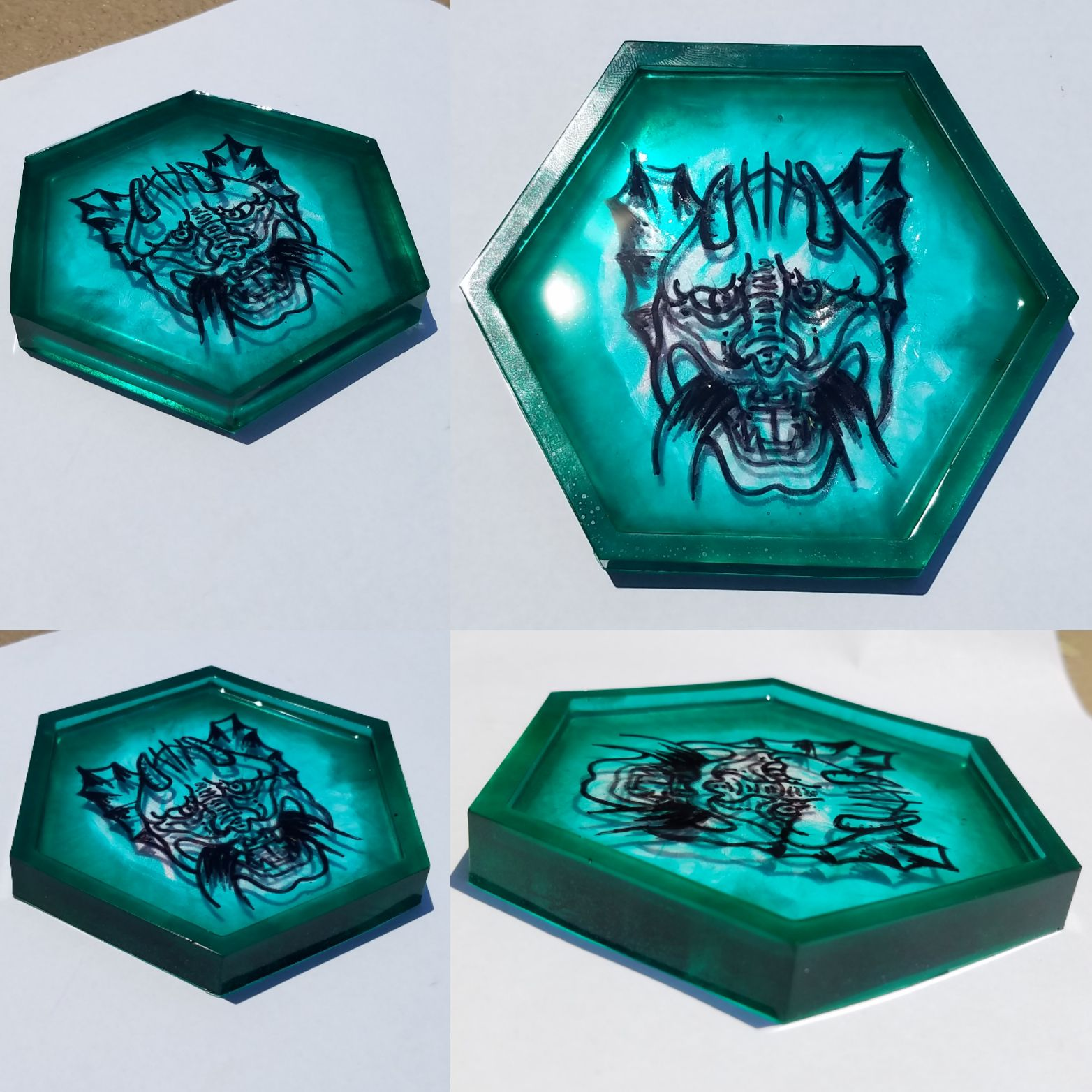 Teal resin trinket tray/dish/coaster wit