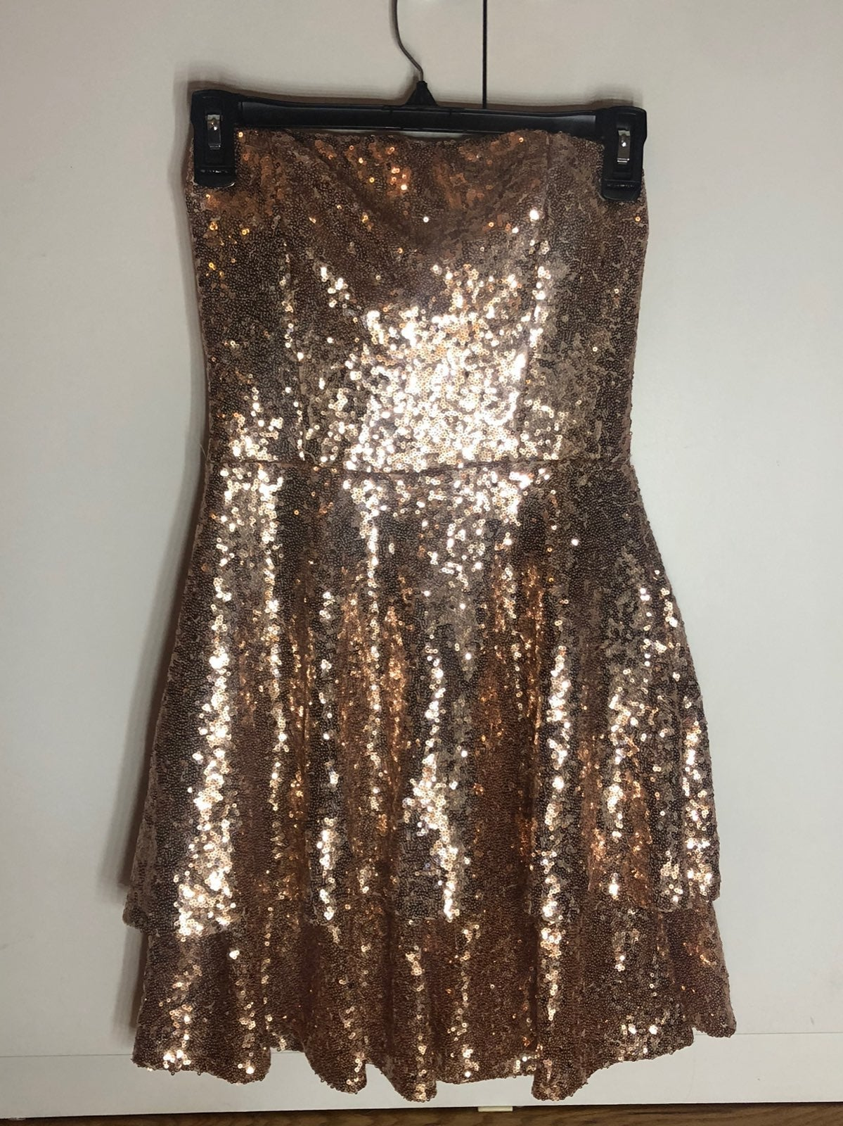 Gold Strapless Homecoming Dress