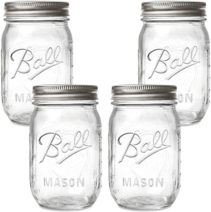 Mason Jars with Lids and Bands, 16-Ounce