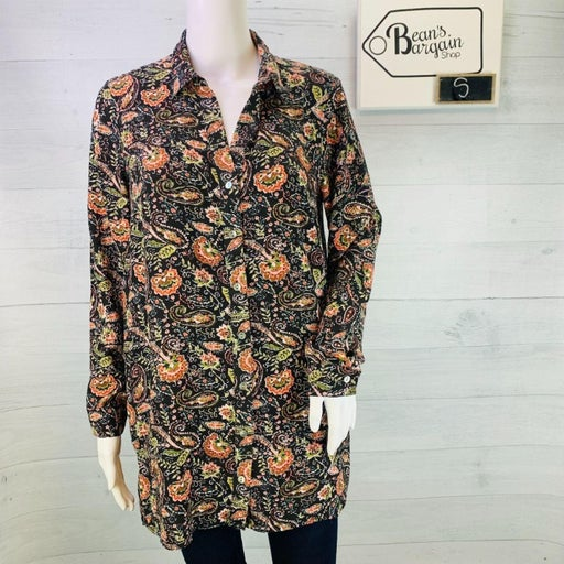 J Jill Womens Rayon A LIne Tunic Top Espresso Harvest Paisley Button Size S