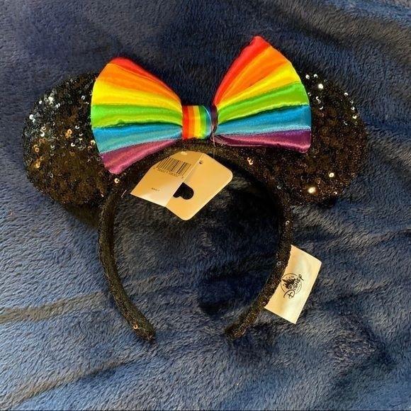 Disney Black Sequin Rainbow Ear Headband