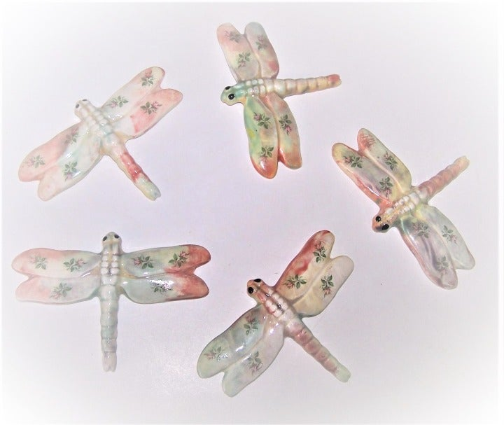 Dragonfly Mosaic Tiles 5-Pc Chic E2