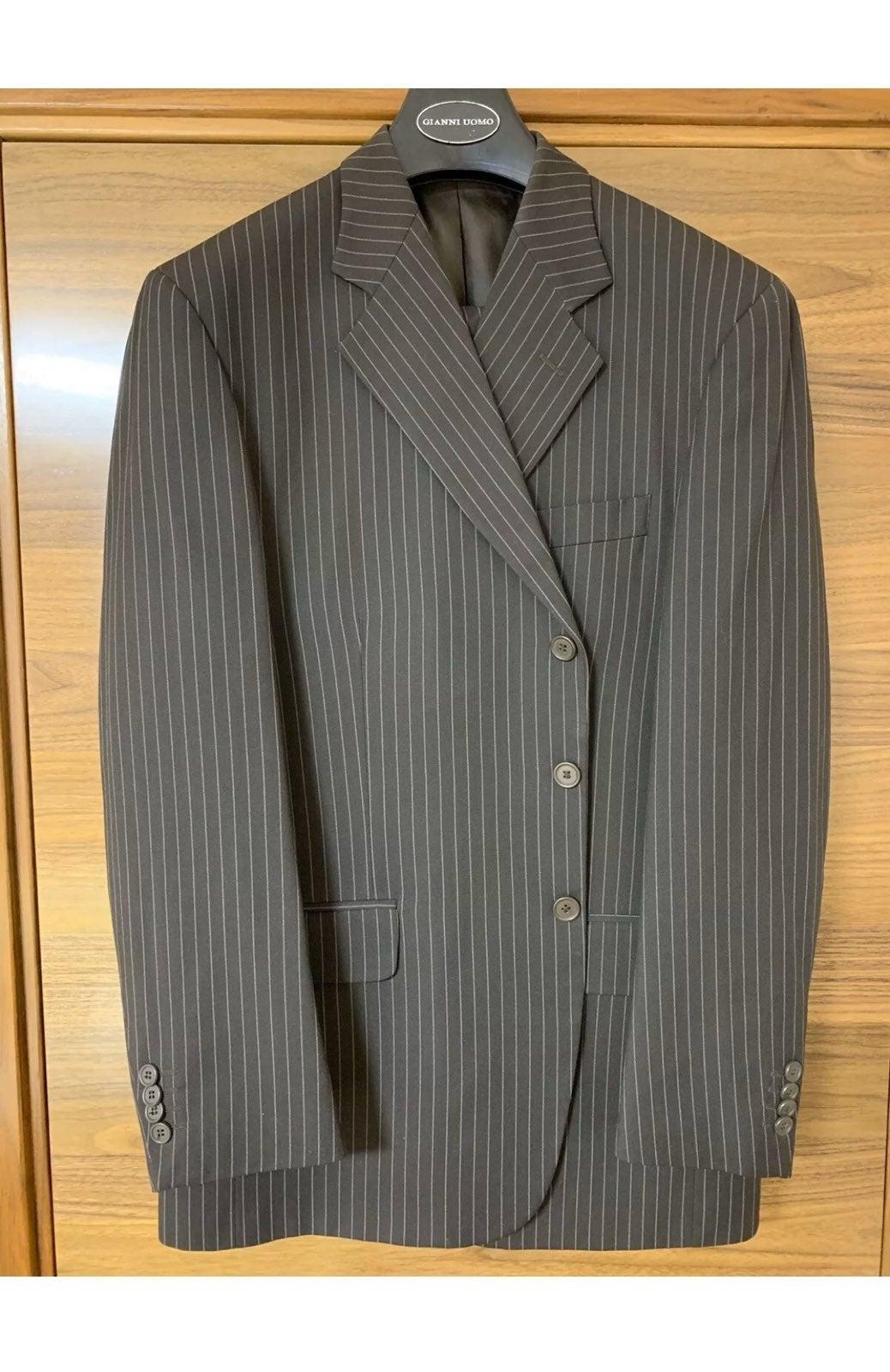 Gianni Uomo, Brown White Striped Suit