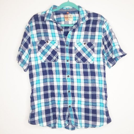 RuffHewn Blue Plaid Button Front Shirt M