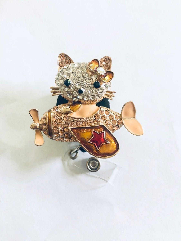 Rhinestone Hello Kitty Retractable Badge