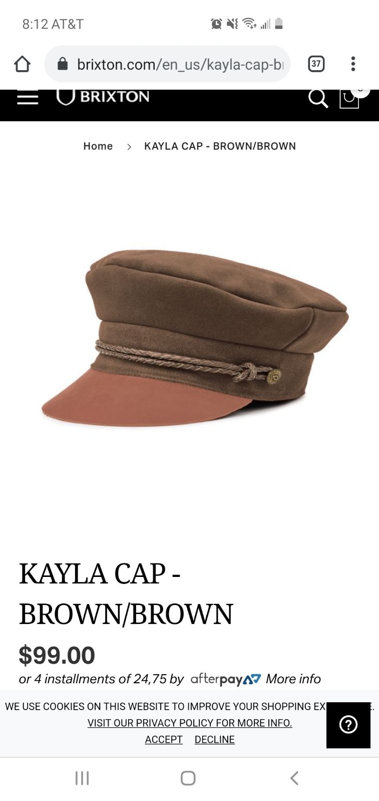 Brixton Suede Kayla hat in Brown
