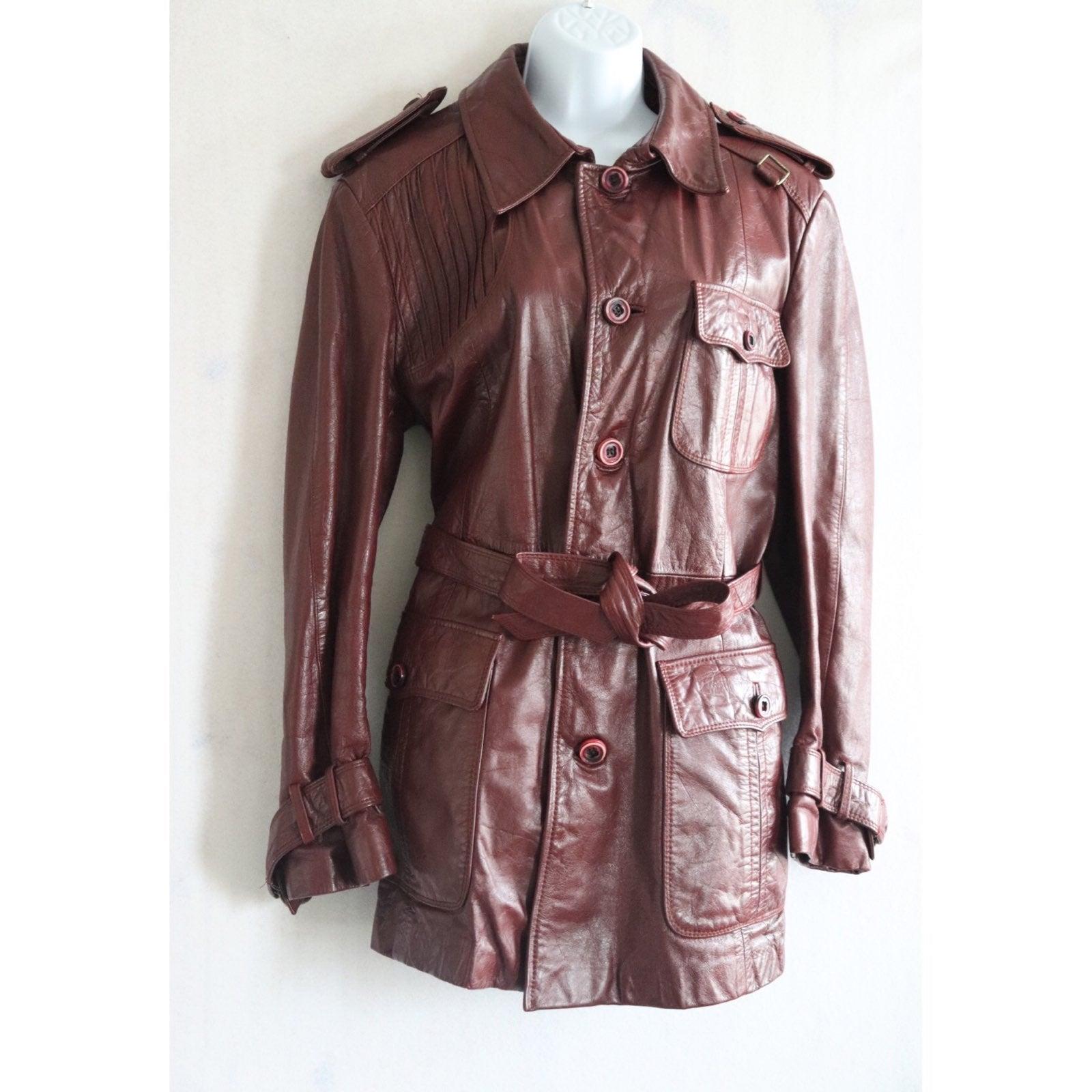 Vntg Etienne Aigner Leather Coat Sz 42