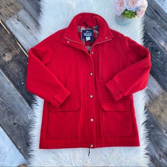 Vintage Woolrich Classic Red Wool Coat