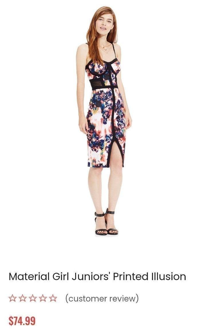 Material girl printed illusion dress