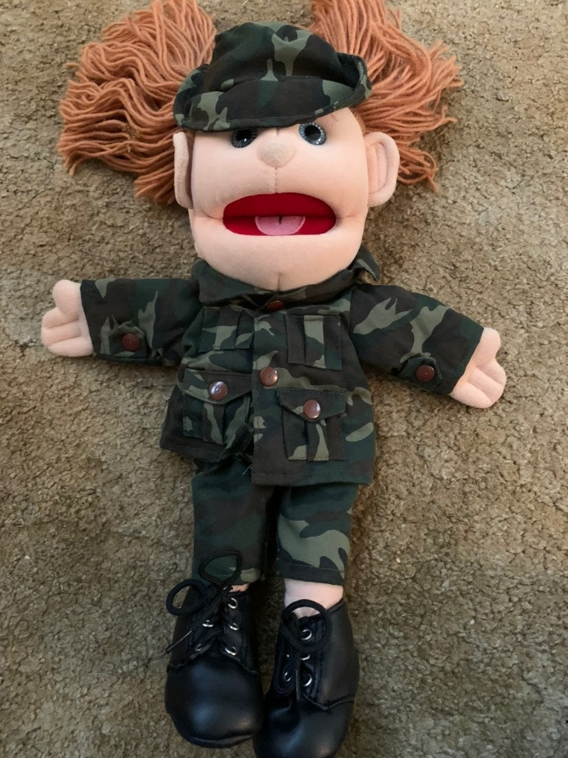 Army Girl Uniform Full Body Hand Puppet