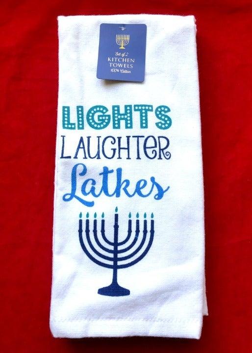 2 Jewish Hanukkah Kitchen Towels Menorah