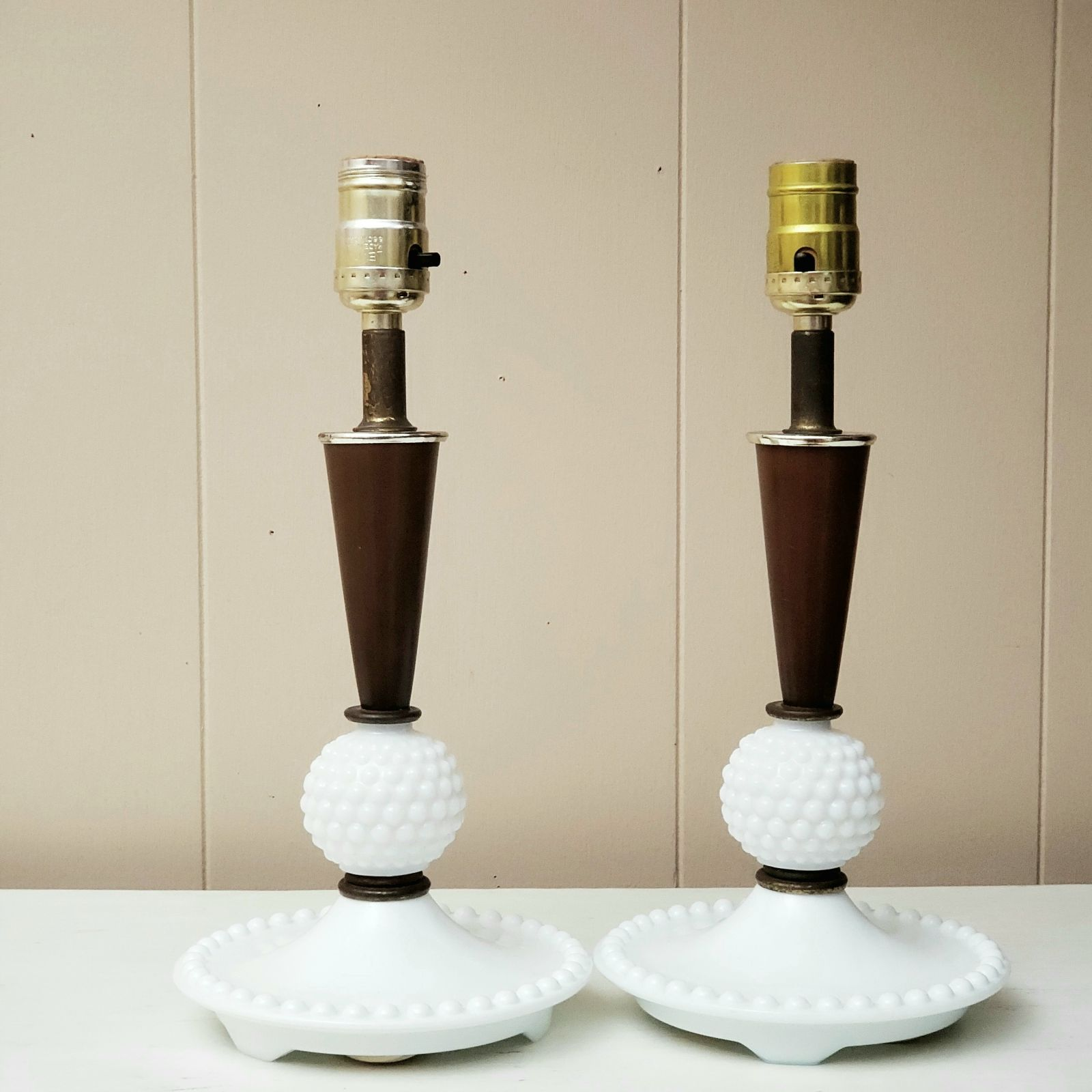 Pair Working Milk Glass Hobnail Lamps