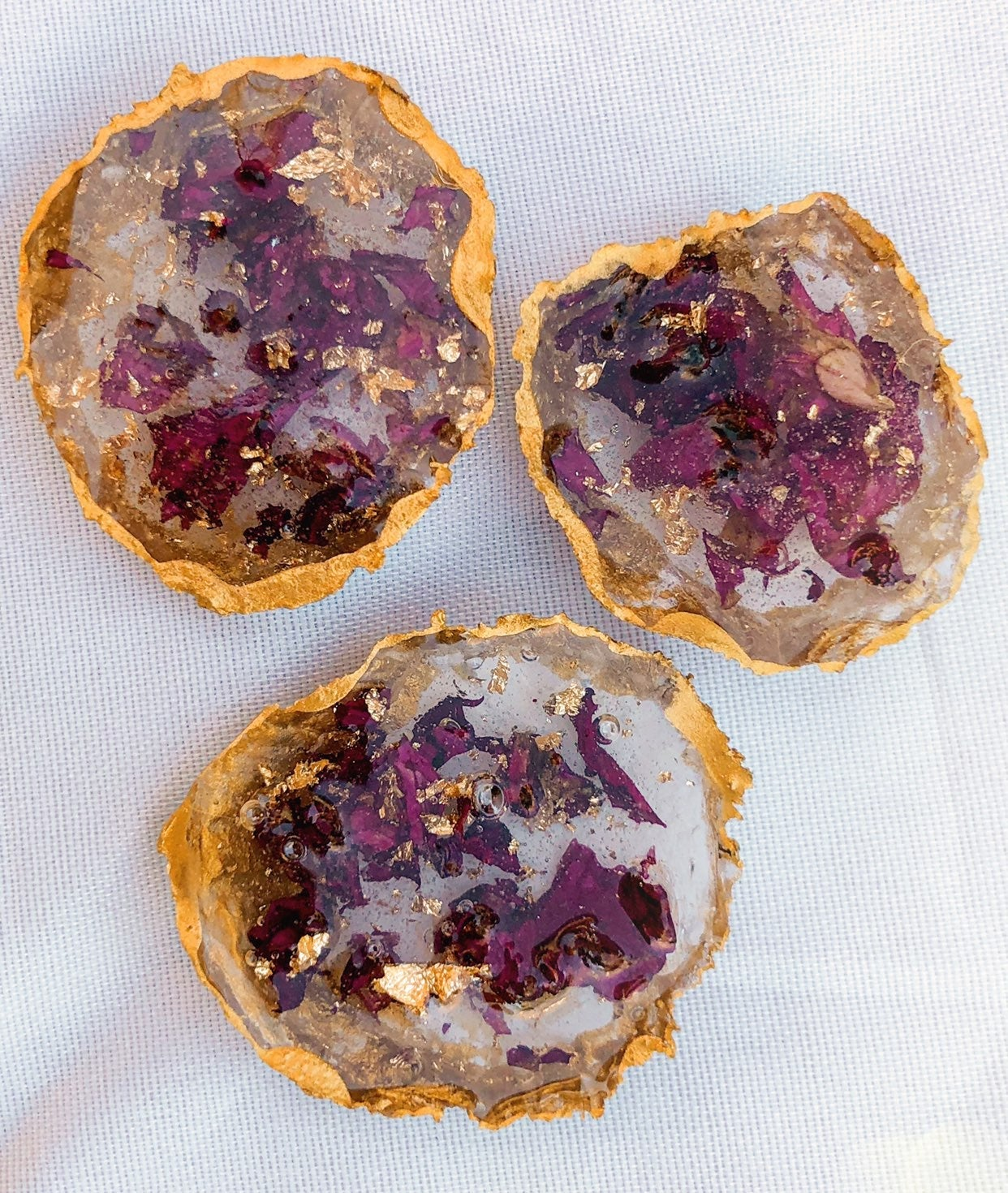Rose & Gold Geode Magnets REAL Flowers