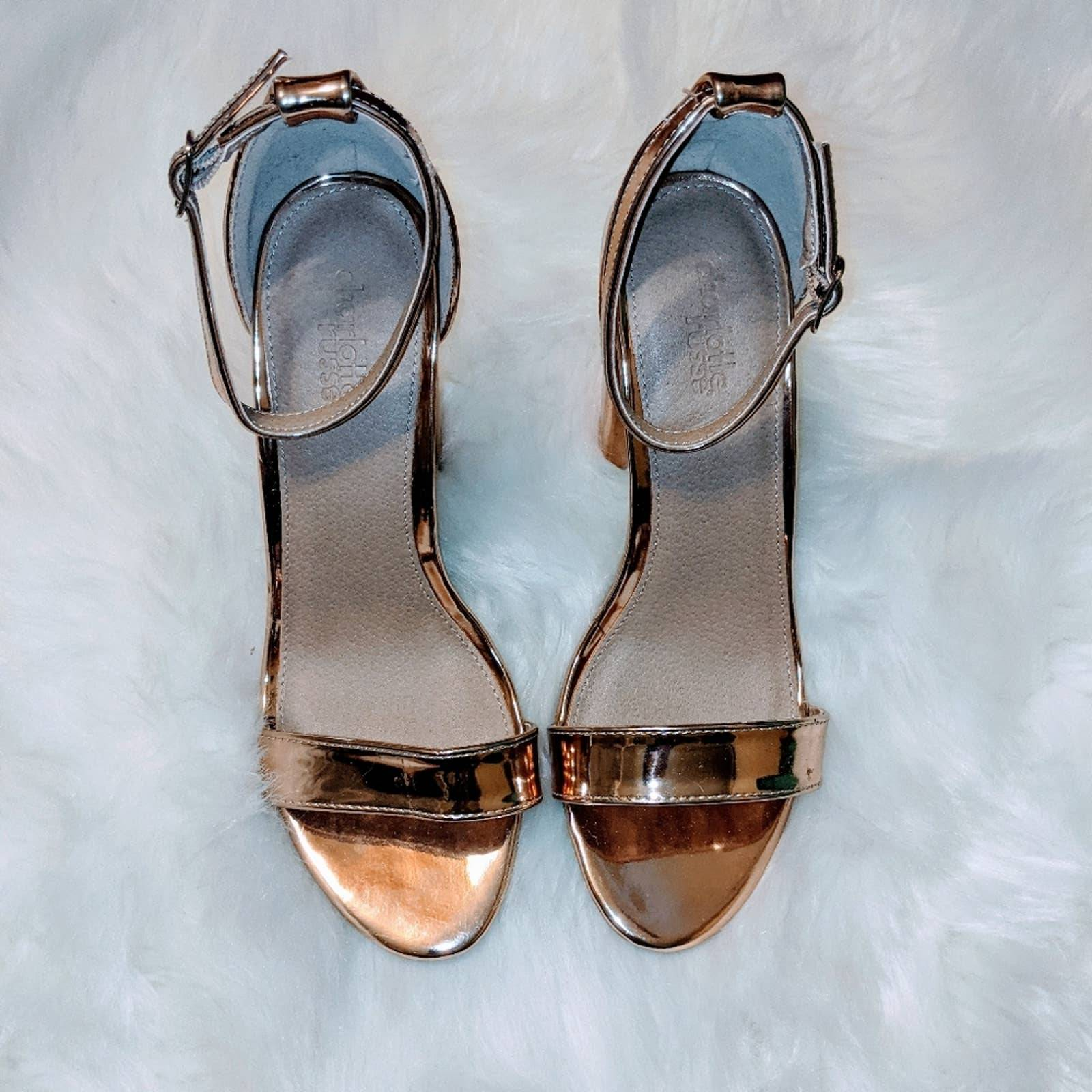 Charlotte Russe Rose Gold Strappy Heels