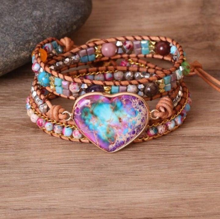 100% Handmade Galaxy Sea Sediment Heart Shaped Stone Beacelet +Gift Pouch