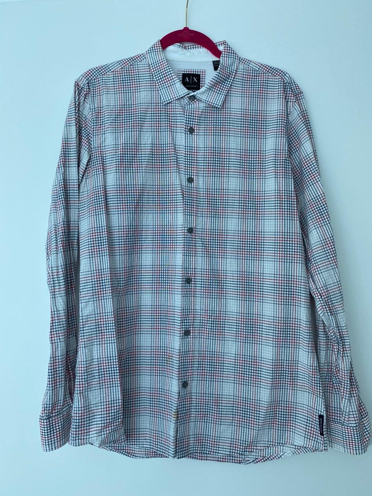 AX Mens Long Sleeve White Striped Shirt