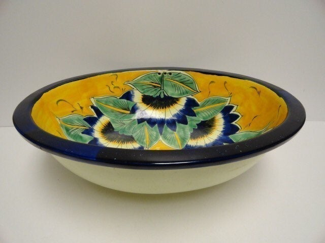 Hand Painted Floral Ceramic Sink