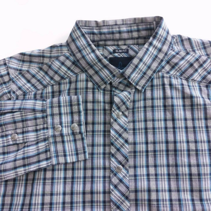 Prana Men Pearl Snap Button Shirt Large