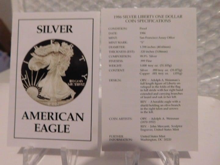 1986 Silver Eagle COA's (2) No Coin