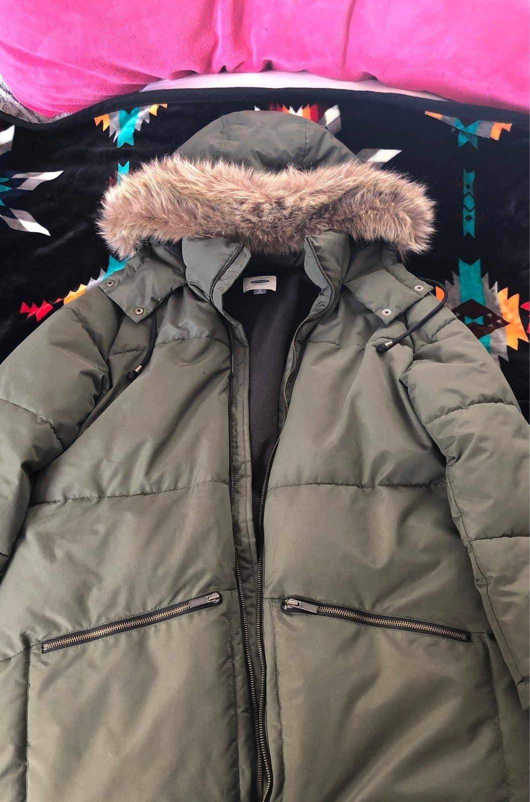 Old Navy Long Hooded Faur Fur Jacket