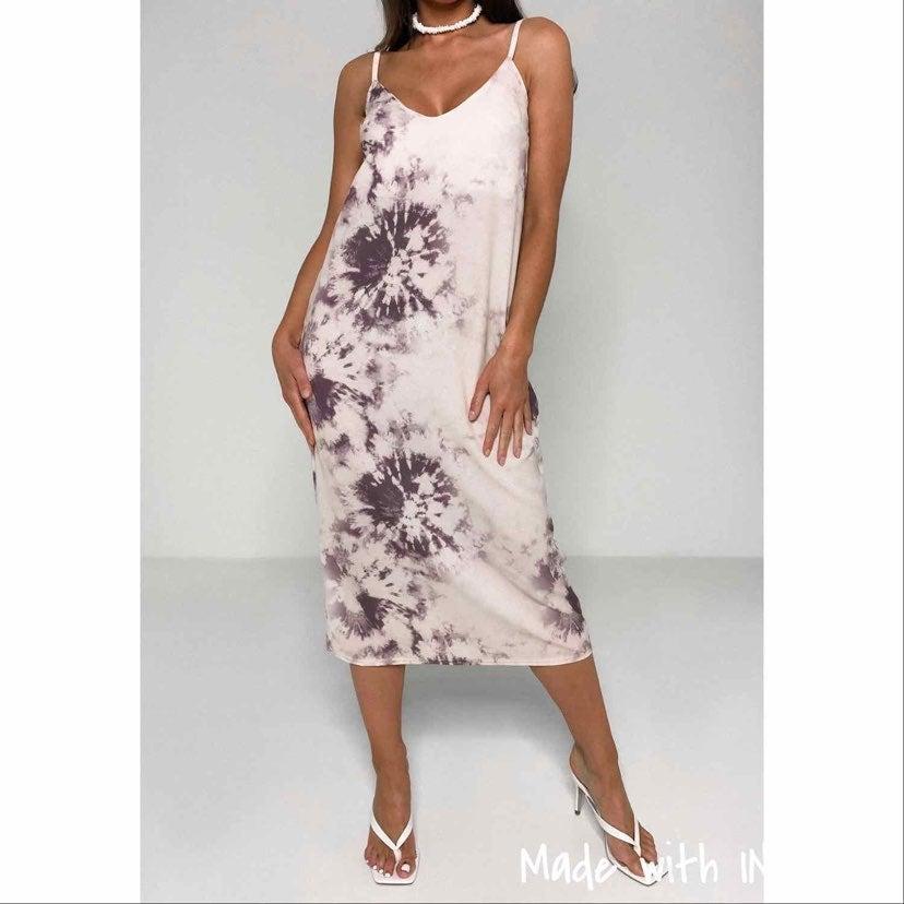 purple tie dye midi dress
