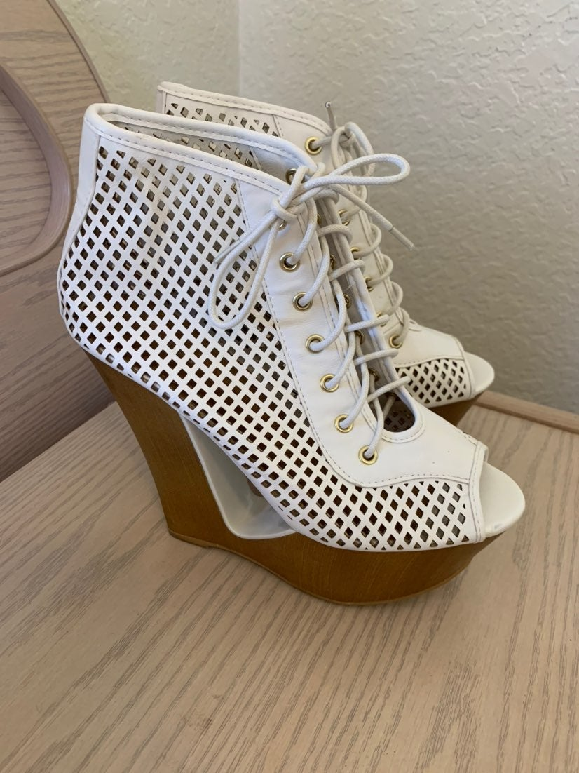Bamboo Cut Out Wedge Heels