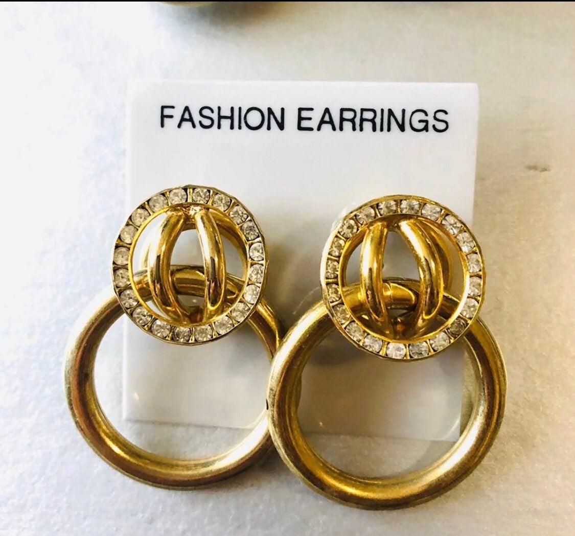 Gold statement vintage earrings -