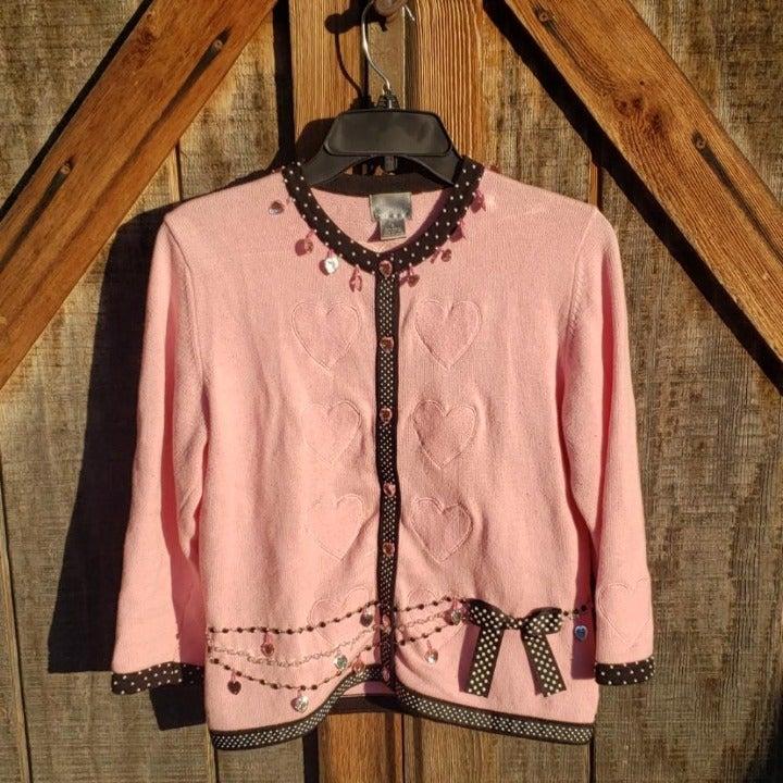 Berek Pink Heart Sweater Jacket Small