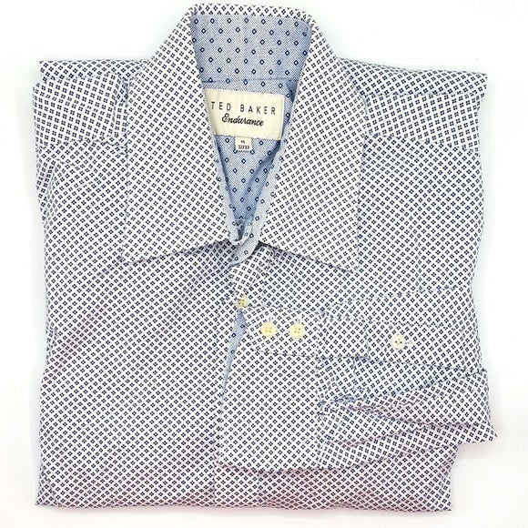 Ted Baker blue white dots contrast shirt