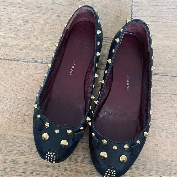 Marc Jacobs black leather punk mouse studded slip on flats womens 35.5 / 6
