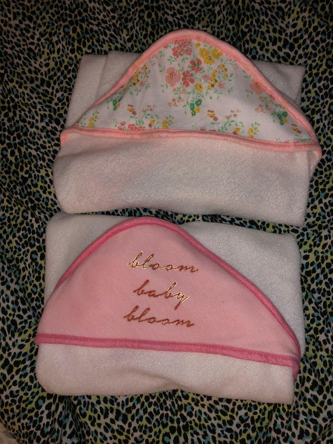 Baby girl hooded towels