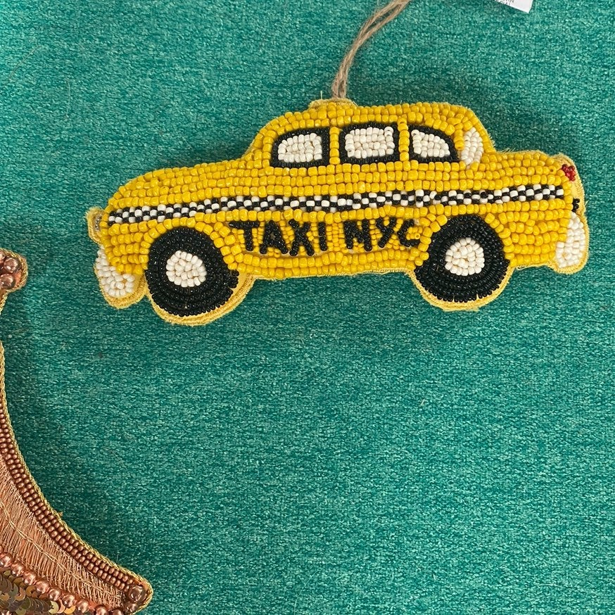 Glass Beaded nyc taxi ornsment art deco