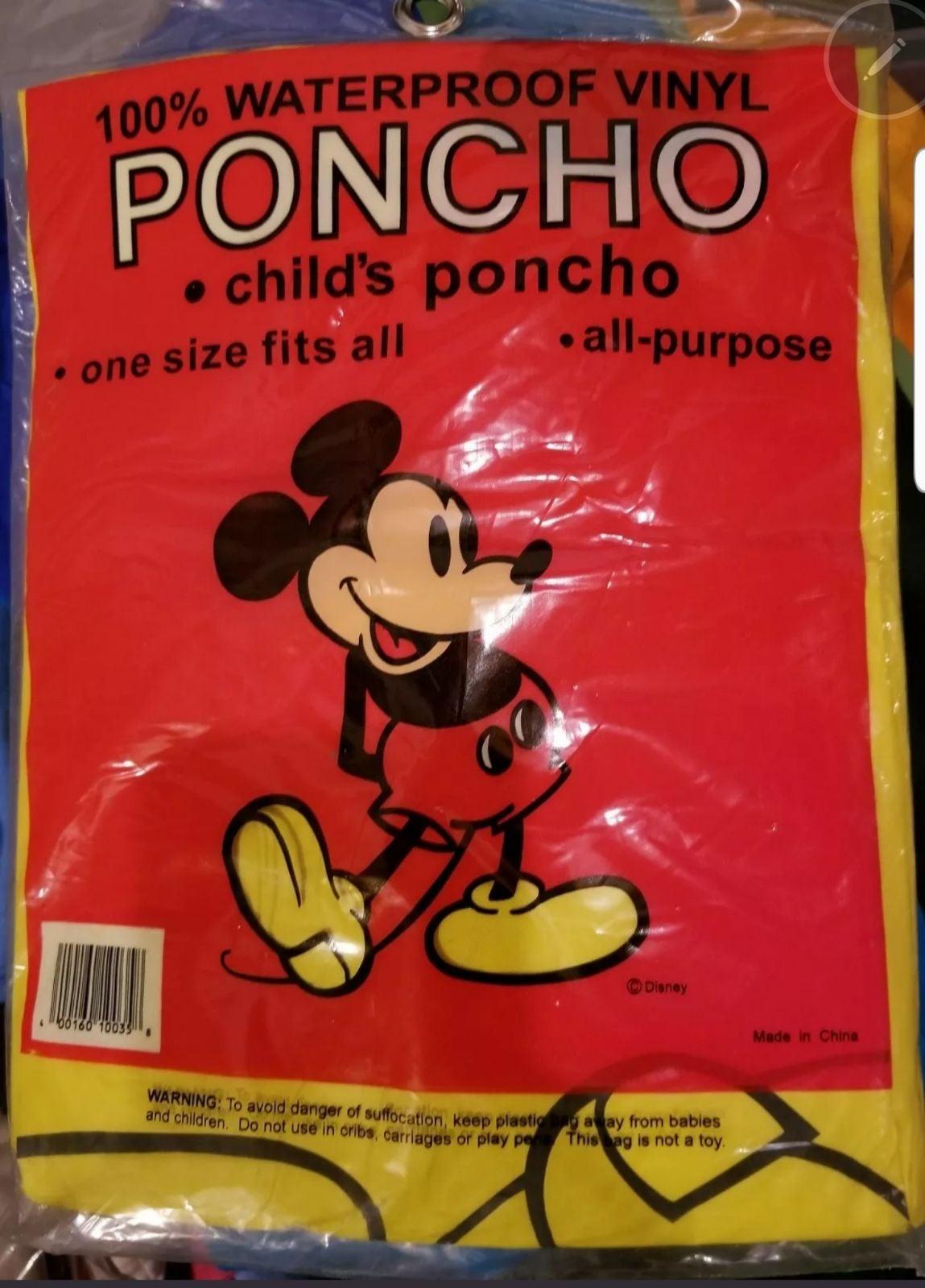 Lot/2 Mickey Child Rain cape New