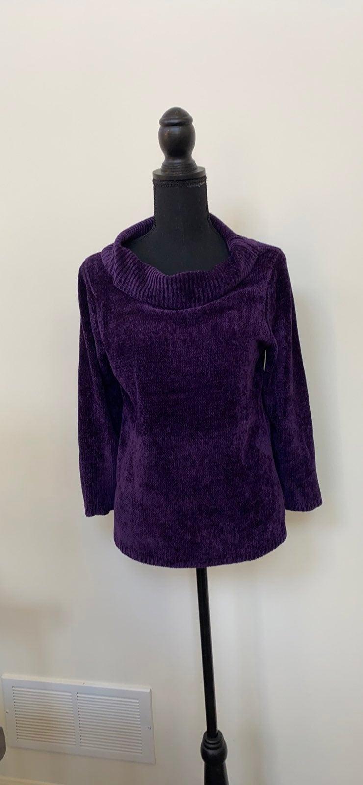 EUC Rafaella Chenille Purple Sweater Med