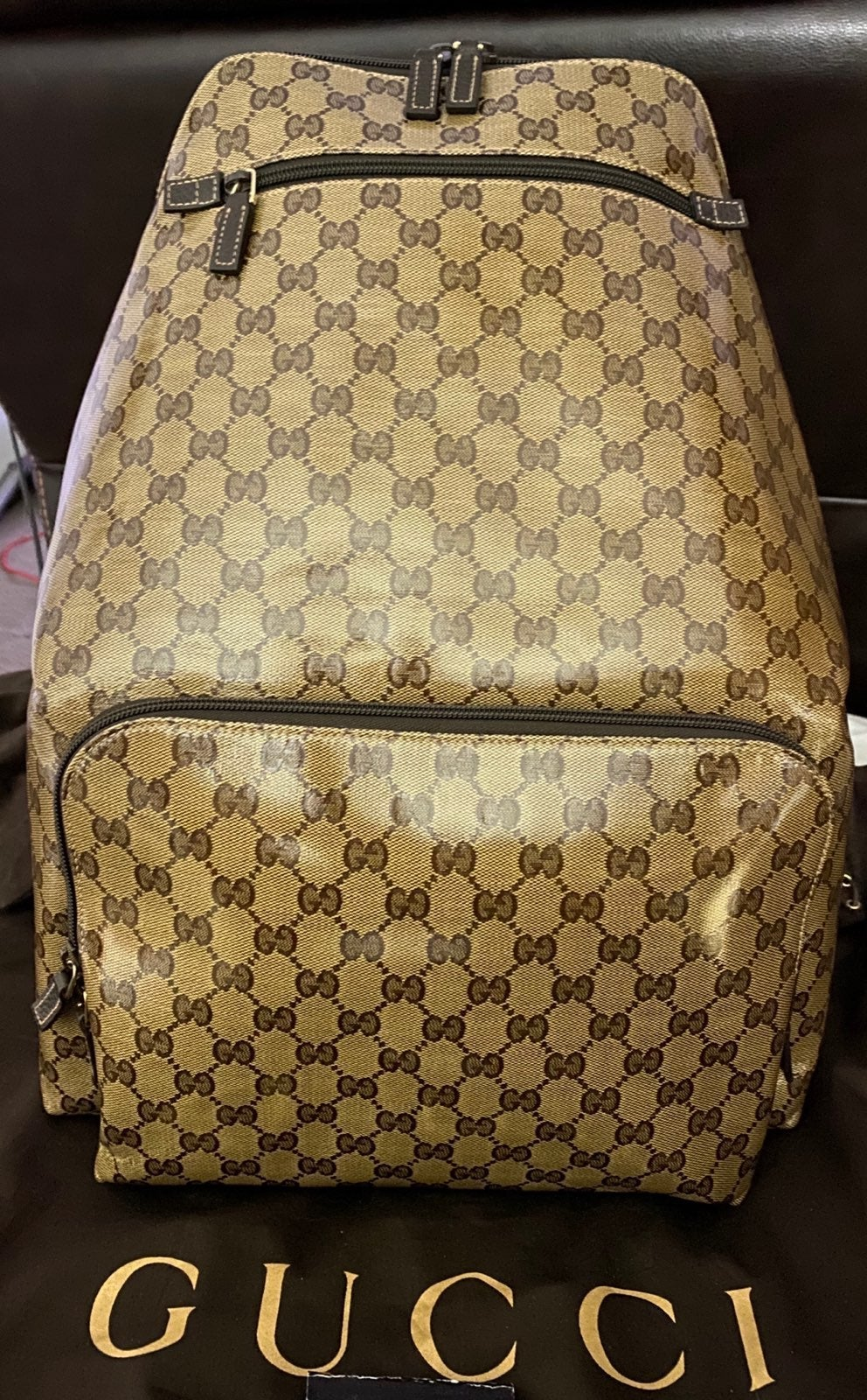 Gucci GG Crystal Brown Backpack