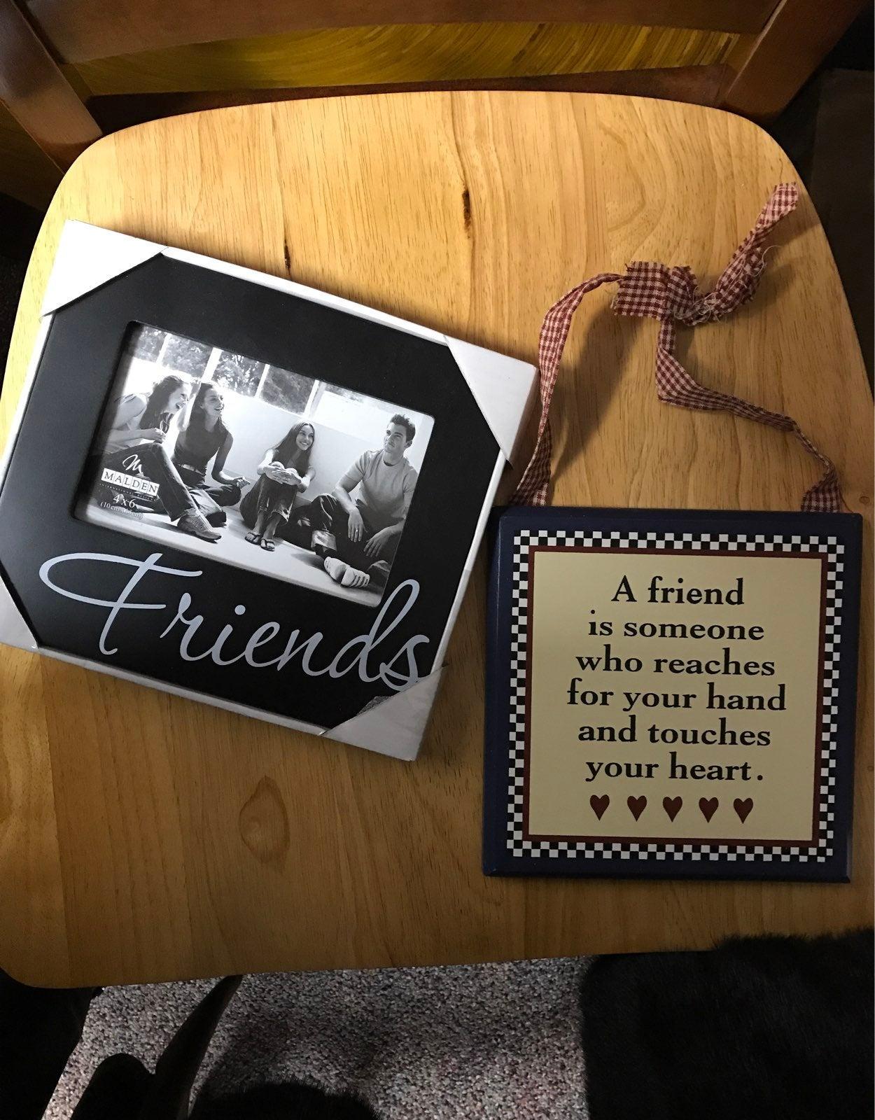 Frame and a plaque