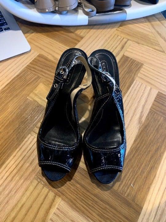 Coach Hollie black leather heels