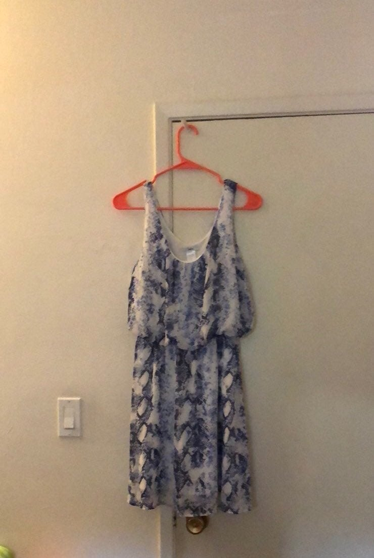 Bar III Blue And White Snakeskin Dress S