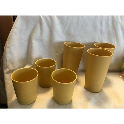 6 Vintage TUPPERWARE Tumblers Yellow