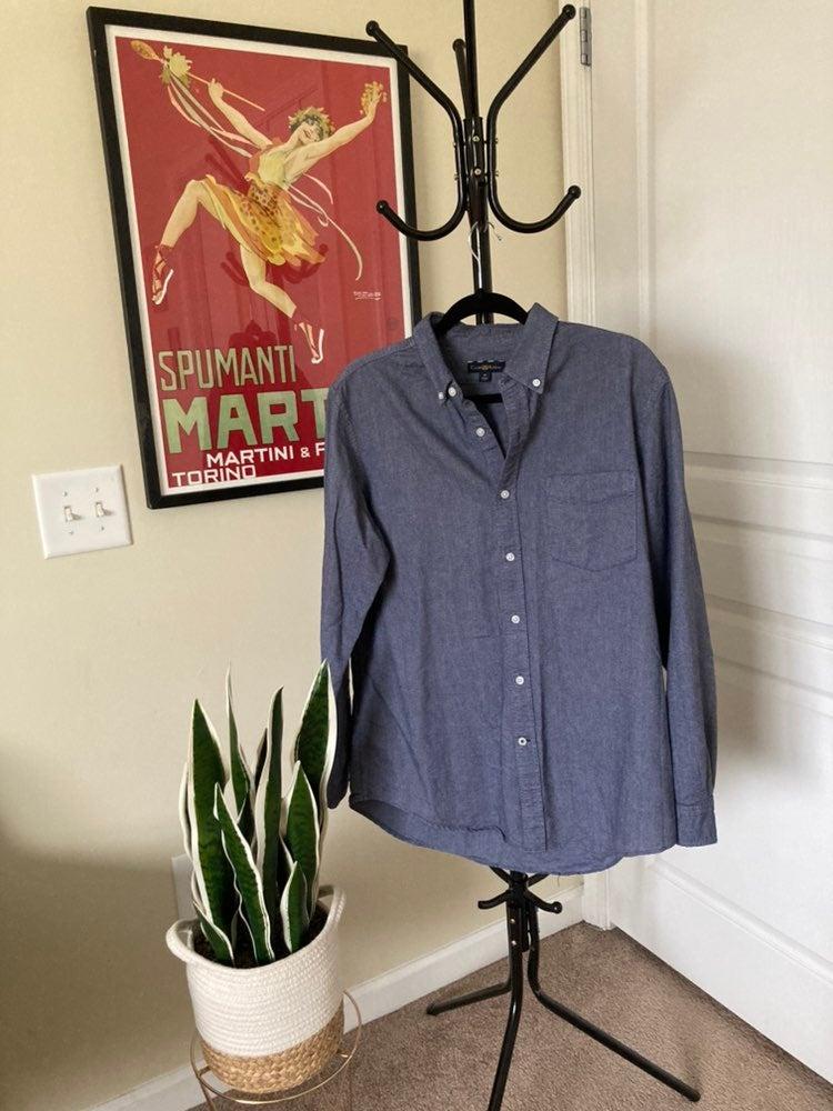 Blue button up shirt, like new