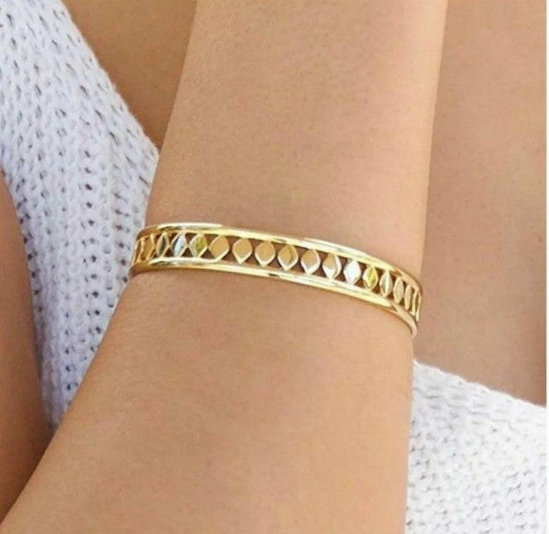 Jules Smith Locked Up Gold Cuff Bracelet for Women or Girls 14K Gold Plated Stylish Cuff Bracelet Features a Sleek Design and a Toggle Lock Closure for an Edgy Look All Your Own.