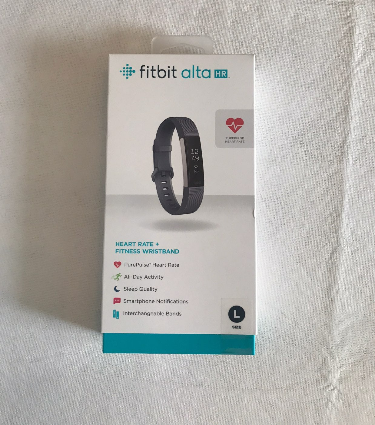 Fitbit Alta HR Large Blue Gray Band NEW