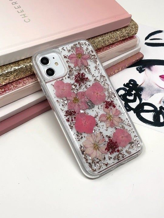 iPhone 11 Real Flower Glitter Case
