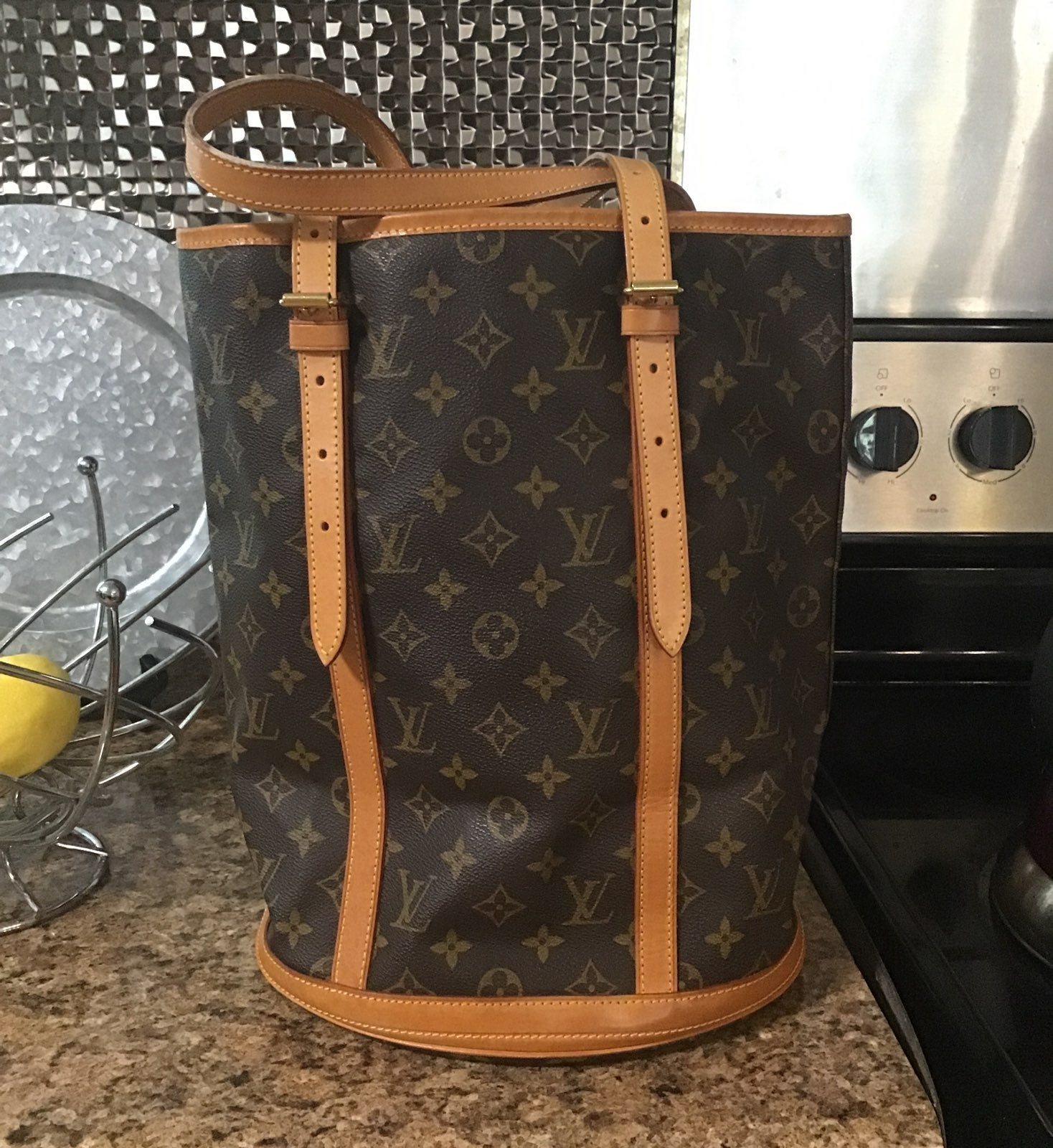 Auth Louis Vuitton Large Bucket Tote GM