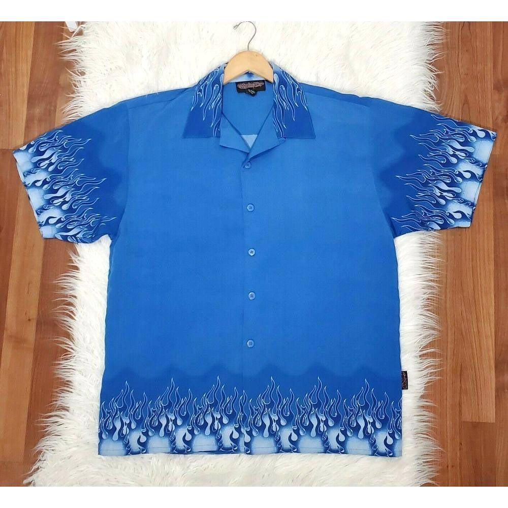 Sapphire Lounge Blue Button Up Shirt Lrg