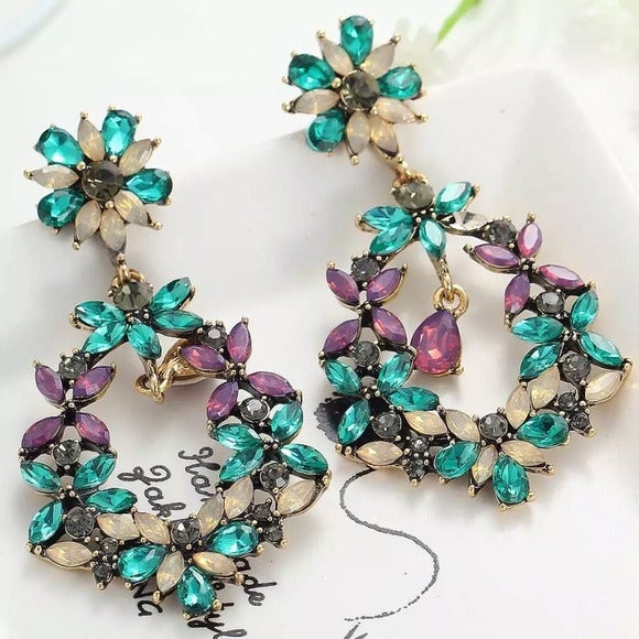 Multi Floral Crystal Occasion Earrings