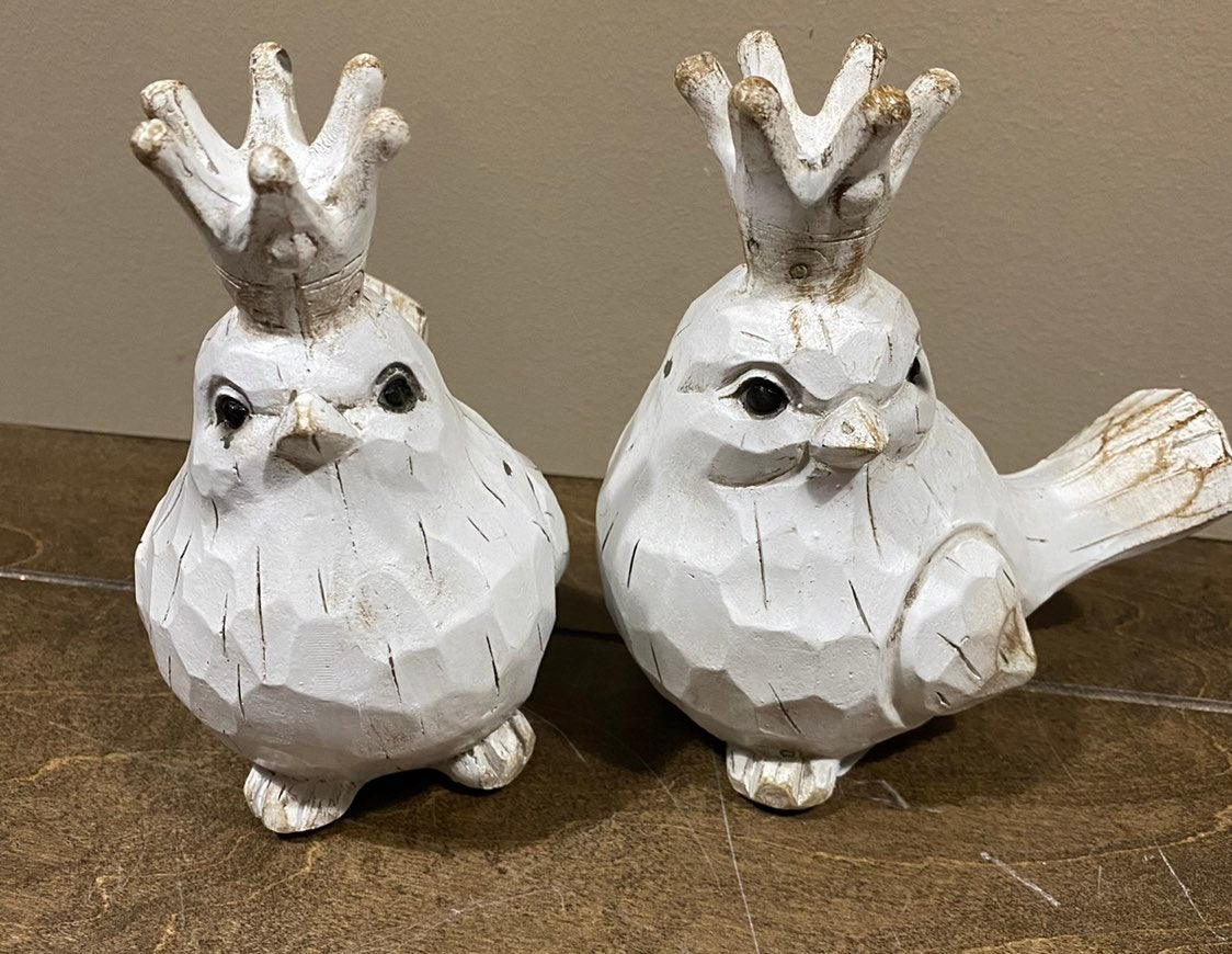 Wooden Birds with Corwns